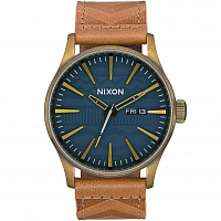 Nixon Sentry Leather BRASS / NAVY / HICKORY