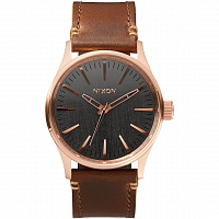 Nixon SENTRY 38 LEATHER Rose Gold/Gunmetal/Brown