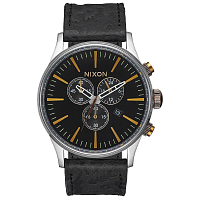 Nixon SENTRY CHRONO LEATHER BLACK/BRASS