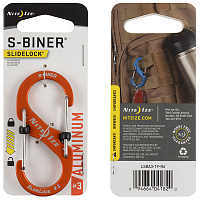 Nite Ize S-BINER SLIDELOCK ALUMINUM 3 ORANGE