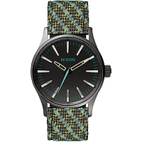 Nixon SENTRY 38 LEATHER Gun/Green/Lt Blue Woven