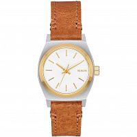 Nixon SMALL TIME TELLER LEATHER Silver/Gold/White
