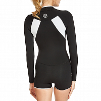 Glidesoul SPRING SUIT 2 MM WITH SHORTS FRONT ZIP BLACK/WHITE