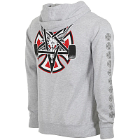 Independent PENTAGRAM CROSS PULLOVER HOODED L/S SWEATSHIRT GREY HEAT