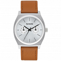 Nixon TIME TELLER DELUXE LEATHER SILVER/SADDLE