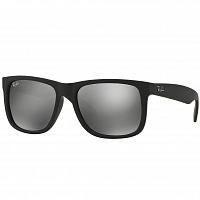 RAY BAN JUSTIN RUBBER BLACK/GREY MIRROR SILVER