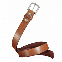 Makia NARROW LEATHER BELT BROWN