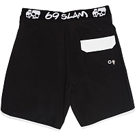 69slam MEN STRETCH BOARDSHORT BLACK/WHITE