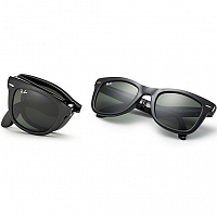 RAY BAN FOLDING WAYFARER MATTE BLACK/MIRROR GRADIENT RED
