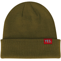 Yes KNIT BEANIE BACKSIDE TAN
