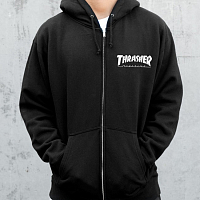 THRASHER MAGAZINE LOGO ZIP HOOD BLACK