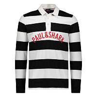 PAUL AND SHARK P&S STRIPED COTTON RUGBY SHIRT WHITE BLACK