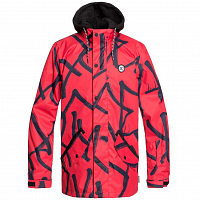 DC UNION JKT M SNJT RACING RED HIEROGLYPHIC PRINT