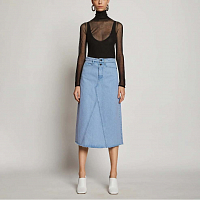 PROENZA SCHOULER WHITE LABLE DENIM SKIRT PERIWINKLE BLEACH