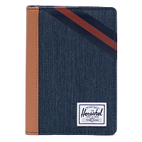 Herschel RAYNOR PASSPORT HOLDER RFID INDIGO DENIM/SYNTHETIC LEATHER STRIPE PEACOAT/PICA