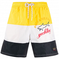 PAUL AND SHARK YATCHY COLOUR-BLOCK SWIM SHORTS YELLOW/WHITE/BLUE