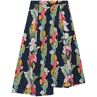 ENGINEERED GARMENTS TUCK SKIRT NAVY HAWAIIAN FLORAL MICROFIBER