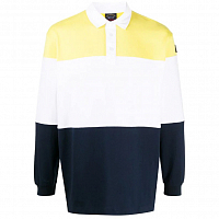 PAUL AND SHARK COLOR BLOCKED RUGBY SHIRT YELLOW WHITE BLUE