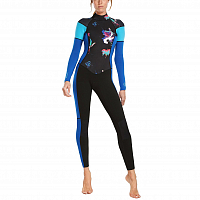 Glidesoul FULL WETSUIT 3/2 MM BACK ZIP GBS BLACK/L.BLUE/FLORAL PRINT/CYAN