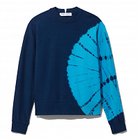 Proenza Schouler White Label Long Sleeve Sweatshirt NAVY/TEAL BULLSEYE TIE DYE