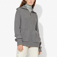 PROENZA SCHOULER WHITE LABLE CHUNKY RIB MOCK NECK HALF ZIP CARDIGAN GREY MOULINE