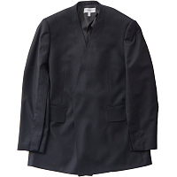 HYKE Light Flannel Collarless Blazer BLACK