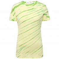 Proenza Schouler White Label TIE DYE Stretch Jersey Tshirt OLIVE GREEN/PALE YELLOW