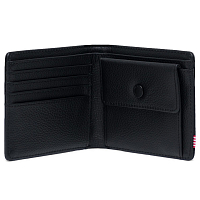 Herschel ROY COIN XL LEATHER RFID Black Pebbled Leather