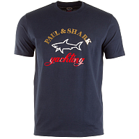 PAUL AND SHARK PRINTED LOGO T-SHIRT BLUE